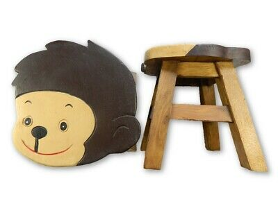 Childs Childrens Wooden Stool - Monkey Shaped Step Stool
