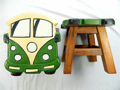 Childs Childrens Wooden Stool - Green Camper Van Step Stool