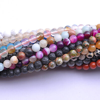 Wholesale Natural Gemstone Round Charm Bracelet Space Loose Beads 6MM 8MM