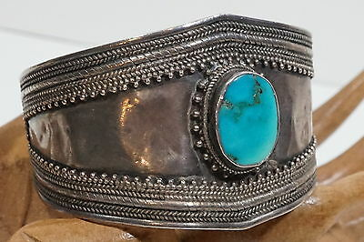 D465 Vintage Classic Hand Made East Indian Chrysocolla Cuff bracelet 7 ""