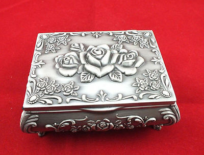 New Beautiful tibet silver carved Rose jewelry box Decoration