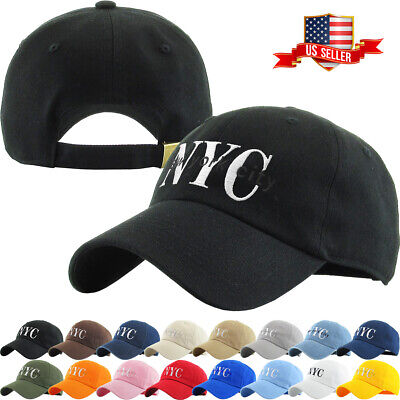 NYC New York City Washed  Polo Style Baseball Ball Cap Hat 100% Cotton NEW