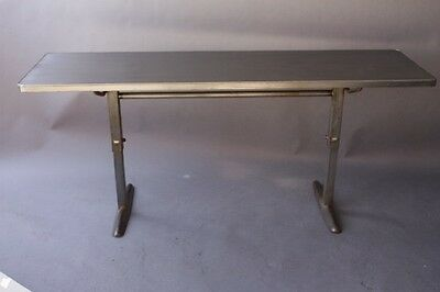 1930s Vintage Adjustable Industrial Metal Table Antique Factory Console (9191)