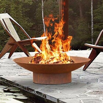 Phoenix 80cm Rusted Fire Pit Outdoor Open Fireplace Patio Heater + Plant Bowl