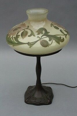 1910 Signed Handel Table Lamp Painted Glass & Bronze Antique Light (9217)