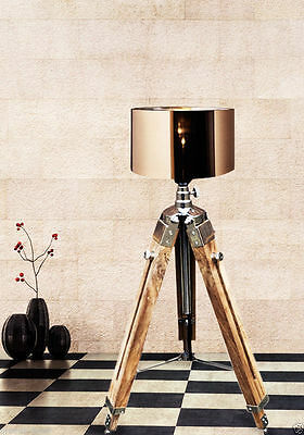 Nautical Wooden Lighting Tripod Floor Lamp Wooden Tripod Stand Use With Shade