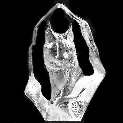 "LYNX by MATS JONASSON 2.6"" NEW IN BOX #88135 Hand Etched in Sweden Crystal"