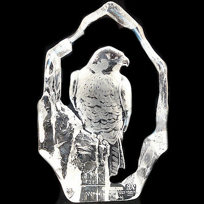 """FALCON  by MATS JONASSON 7.25"""" NEW IN BOX #33502 Hand Etched in Sweden Crystal"""