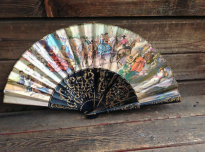Beautiful Double Sided Ladies Paper Fan -Spanish Painting Signed M. Diago