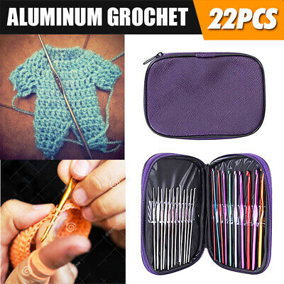 Crochet Hook Set New 22pcs Multicolour Aluminum Knit Knitting Needle Weave Craft