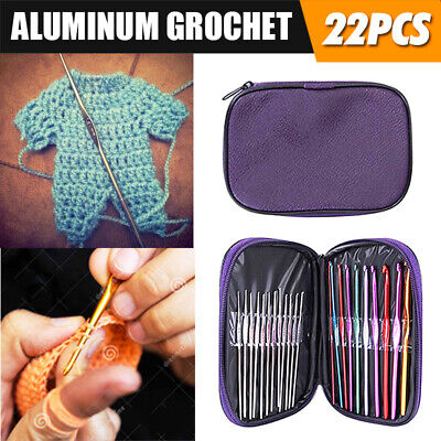 NEW 22pcs Multicolour Aluminum Crochet Weave Craft Yarn Hook Knitting Needle Set