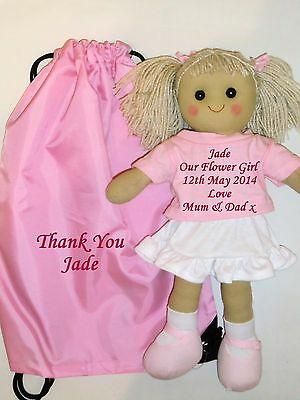 Personalised Rag Doll Bridesmaid Flower Girl Wedding Favour Gift with Bag