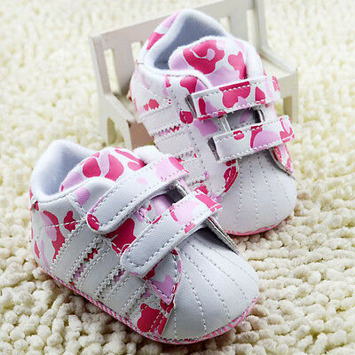 Baby Girl Pink Camo Crib shoes Soft Soles Sneakers size Newborn to18 Months /M