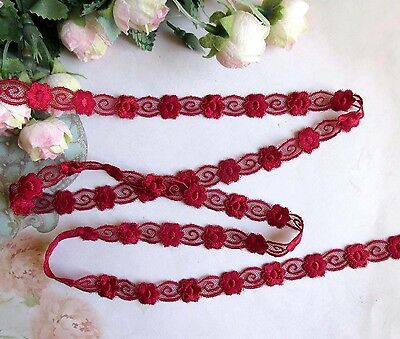 2 meters 1.5 cm width Pretty Dark Red Embroidery Mesh Lace Trim
