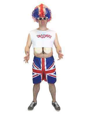 Adult Men's Funny British Flag Union Jack Big Boobs Fancy Dress Stag Costume