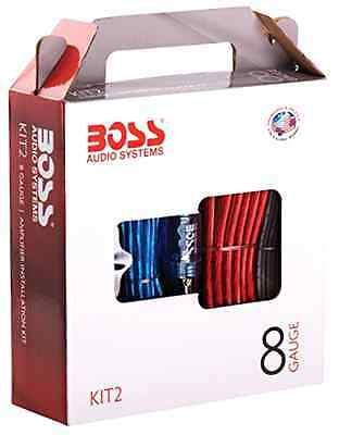 BOSS 8 Gauge Amp Amplifier Installation Kit Car Power Wiring Sub Subwoofer