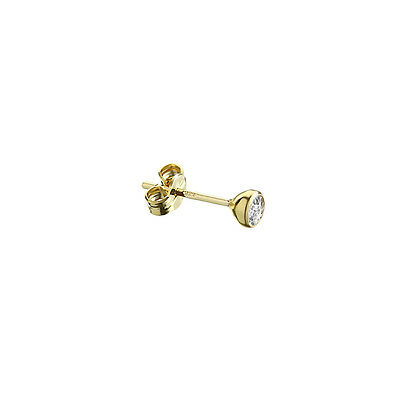 SINGLE Ohrstecker Gold 333er 4,00mm Cubic Zirkonia DAMEN HERREN KINDER 1990