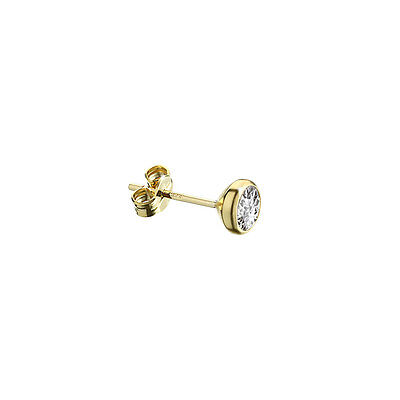 SINGLE Ohrstecker Gold 333er 5,50mm Cubic Zirkonia DAMEN HERREN KINDER 1992