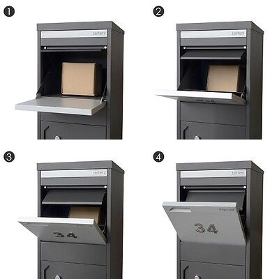 PARCEL A4 Secure Drop Box Charcoal Letterbox Mailbox Post Parcelbox Pier PILLAR