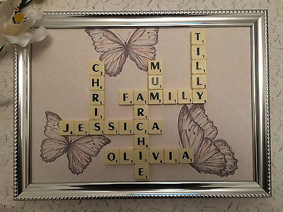 Scrabble Family Name Picture Frames - Personalised - Various Backgrounds