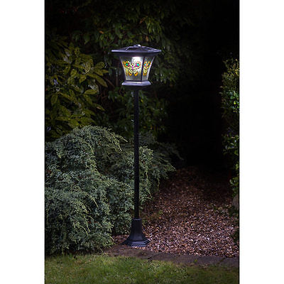 New Outdoor Stained Glass Effect Solar Powered Lamp Post