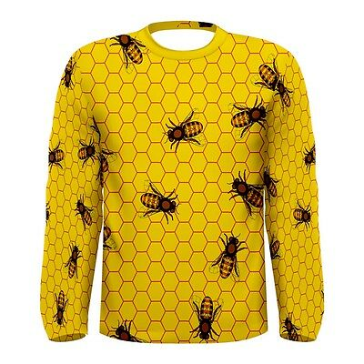 New Yellow Pattern Of The Bee Sublimated Long Sleeve T-Shirt Men Size S-3XL