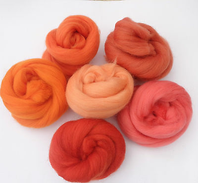 roving MERINO WOOL  RED ORANGE YELLOW dyed wool tops needle felting  60g