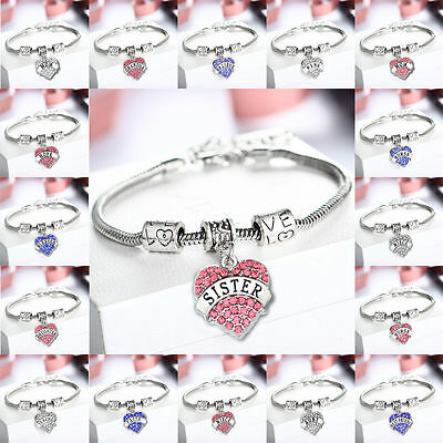 Family Gifts Love Beads Heart Crystal Charm Pendant Silver Bangle Bracelet Party