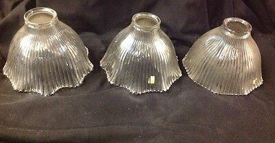 Three Matching Ribbed Prismatic Glass Vintage Steampunk Lamp Sconce Shades
