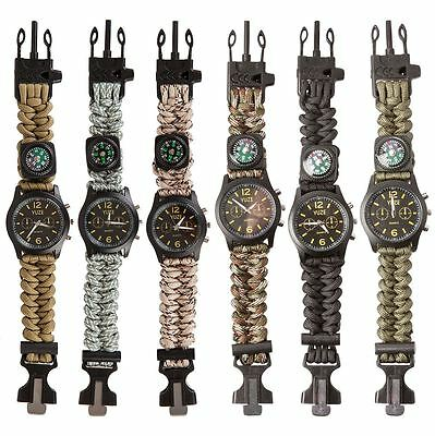 Survival Paracord Bracelet Watch Compass Flint Whistle Outdoor Bushcraft Gear