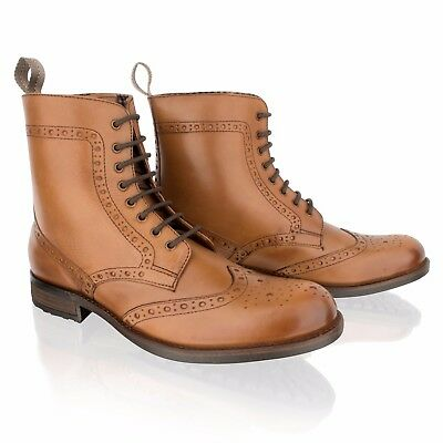 Mens Leather Tan Brogue Lace Up Zip Smart Casual Formal Ankle Boots Shoes Size