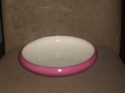 Vintage Large Lenox Flower Bowl/vase Fuschia /dark Pink & Ivory Older Green Mark