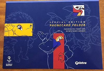 Telstra limited edition  phone card folder -features Sydney 2000 mascots