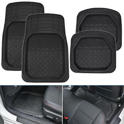 4pc Dish Rubber Floor Mats Black All Weather Protection Water Mud Dirt Washable