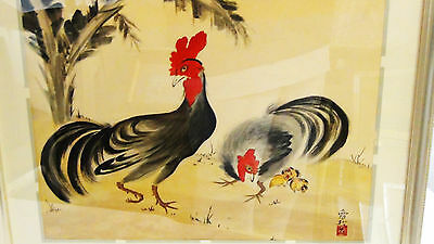 Antique Japanese Brush And Watercolor On Paper Of A Rooster&Chicken,Sign & Seal