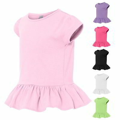 Rabbit Skins Kids Tops Tees Toddler Girls' Ruffle T-Shirt 3327