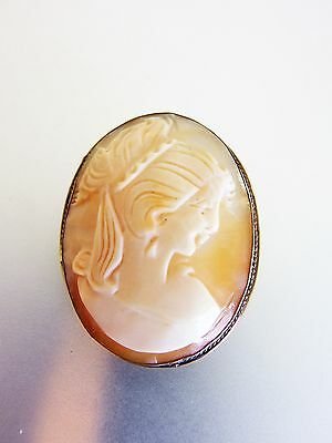 Pretty Vintage Carved Shell Cameo Pendant/Brooch