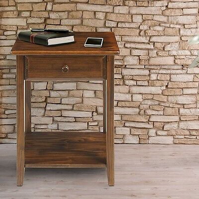 Casual Home Nightstand with USB Port Charging Station In Warm Brown Finish New