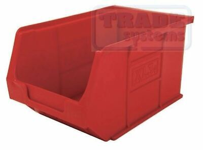 Packs of RED Open Fronted Storage Bins - Plastic Parts Picking Workshop Box XL