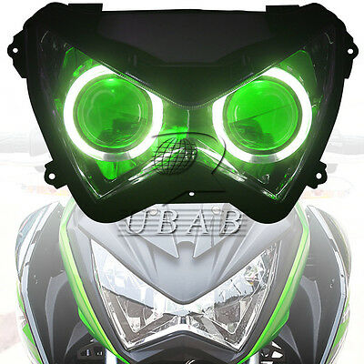 Angel Eye Headlight Assembly HID Projector For Kawasaki Z800 Z250 13-2015 Z300