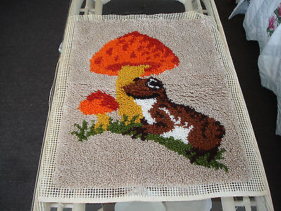 Vintage Latch Hook Mushroom Wall Hanging Already Made