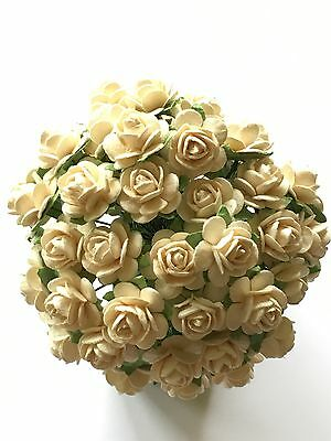 50 CREAM MULBERRY PAPER OPEN ROSES/FLOWERS 1cm (10mm) and 1.5cm (15mm)
