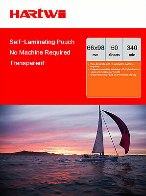 Hartwii 50 Sheets Cold Seal Self Adhesive Laminating Pouch ID Name Card 66x100mm