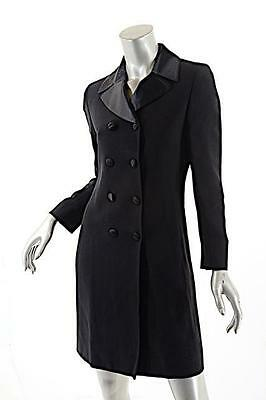 Black Rayon Gaberdine TUXEDO Coat Dress w/Satin Trim - US 6
