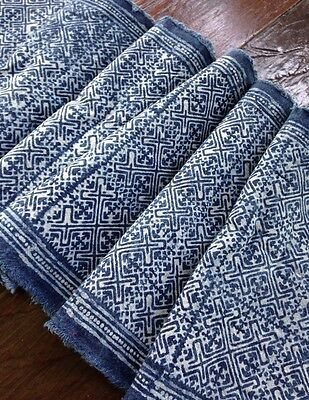 Vintage Style Hmong Batik handprint Textile handmad Tribal Fabric Craft Supplies