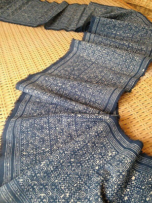 Vintage Hmong Batik Style block print Textile Tribal Fabric Craft Supplies