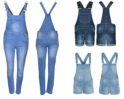 New in Stylish Summer Girl's Denim Jean Short & Long Dungaree Jumpsuit Ages 7-13