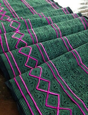 Vintage Style Hmong Batik handprint Textile Boho Tribal Fabric Craft Supplies