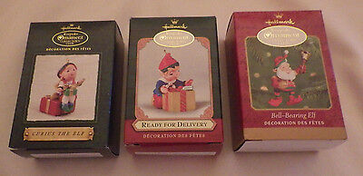Lot 3 Hallmark Ornaments Curius The Elf Bell Bearing Elf Ready For Delivery