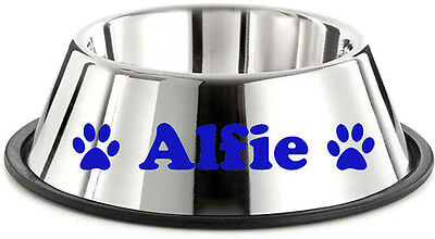 2 x PERSONALISED NAME DOG BOWL VINYL DECAL STICKERS